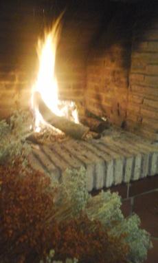rustic fireplace